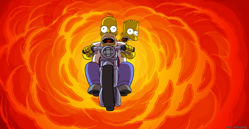 Bart And Homer Ride Motorcycle Through Flames