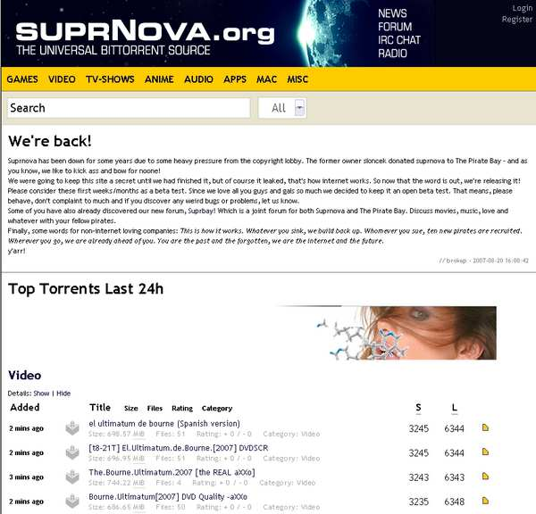 SuperNova.org Screenshot