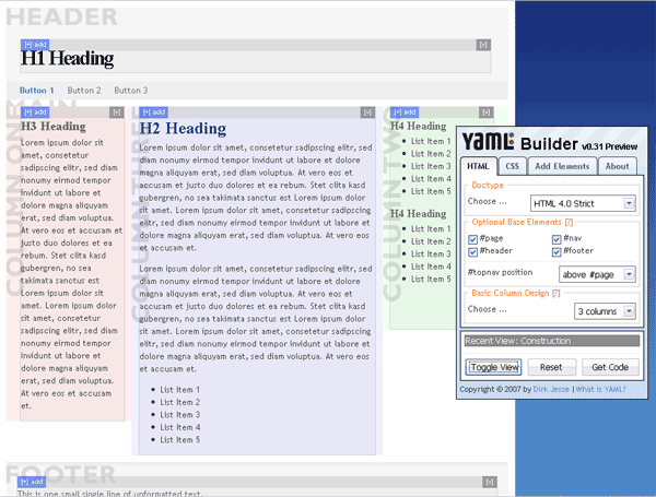 YAML Builder Visual Layout Tool Screenshot