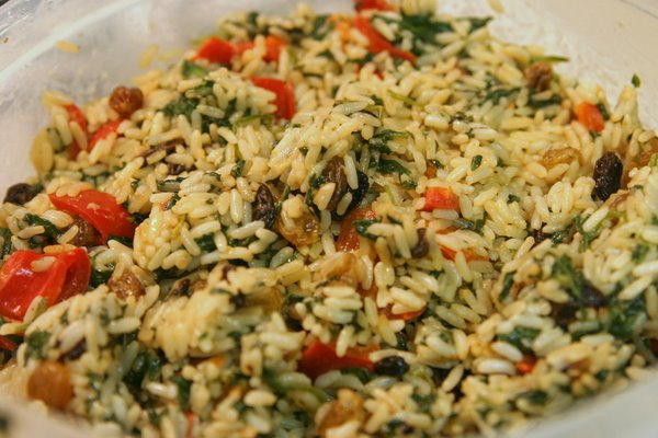 Mediterranean Spinach and Rice Close Up