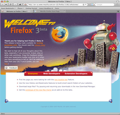 Screenshot of Firefox 3 Beta 2 with Proto Theme
