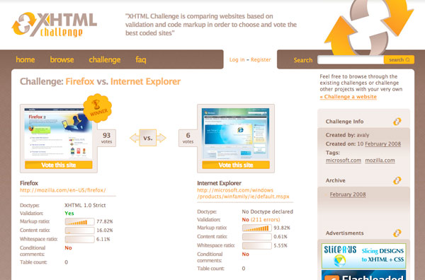 XHTML Challenge Screenshot