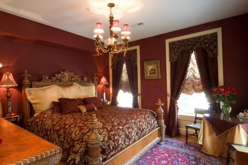 Celebrating our 7th anniversary in baltimore local for Burgundy and gold bedroom designs