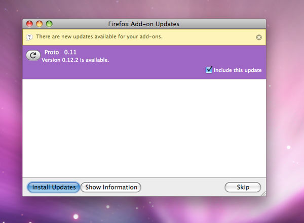 The Firefox add-on updater stops me dead in my tracks.
