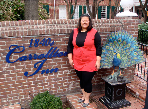 Kristina in front of 1840's Carrollton Inn