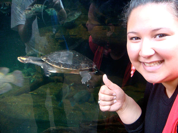 Kristina and a turtle