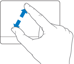 Finger gestures make using an Apple laptop easy.