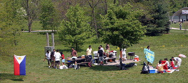 A shot of the picnic from the hill.