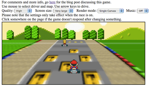 Play a JavaScript version of Super Mario Kart