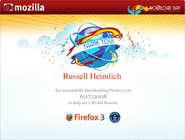 Firefox Download Day 2008 Certificate