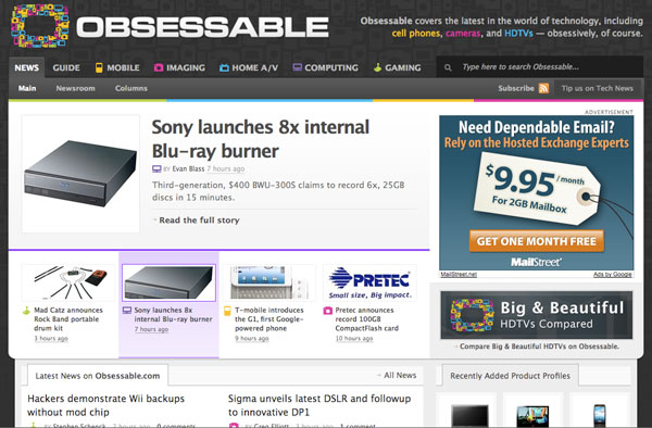 Obsessable Homepage Screenshot
