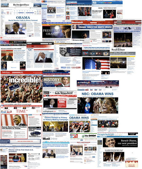 Election Night News Site Homepage Collage