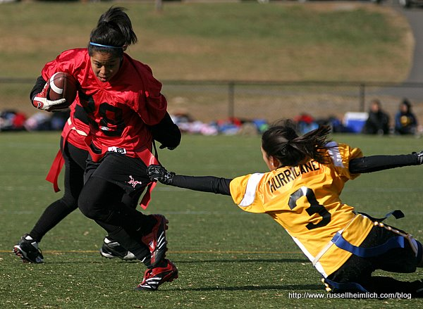 Cynthia Gamboa shakes off defender JoAn Burce.