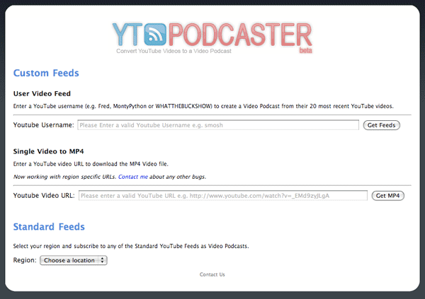 YTPodcaster.com Screenshot