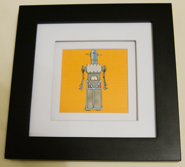 Close-up shot of the orange robot photoart.