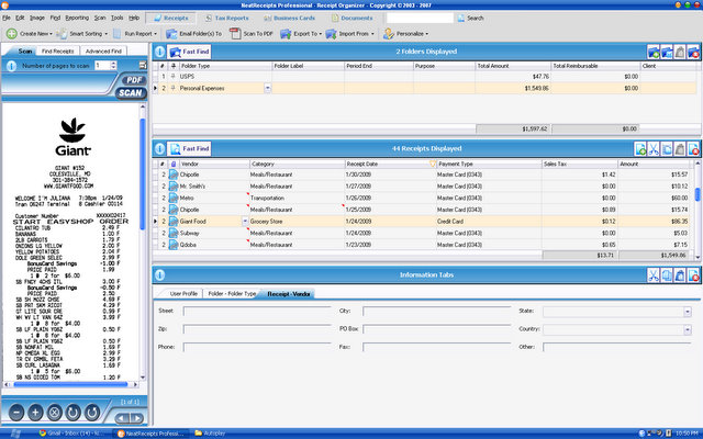 Screenshot of Neat Receipts 3.0 software