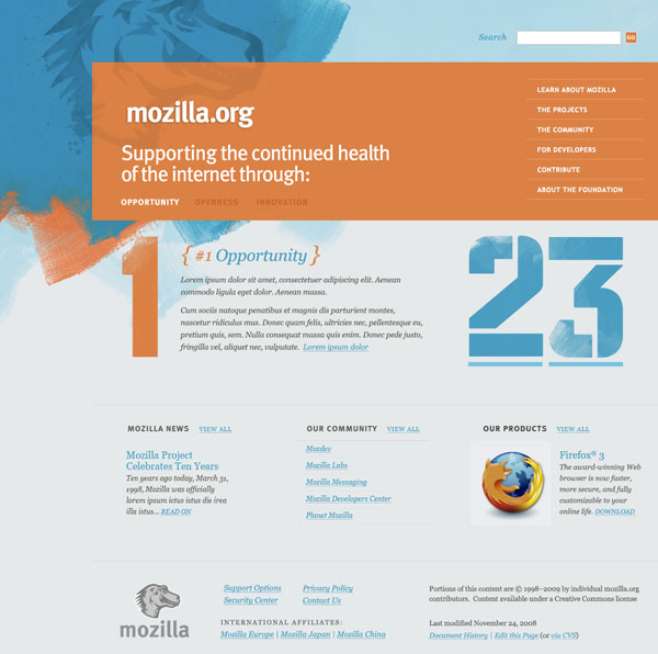 Blue and orange grunge concept for Mozilla.org redesign.