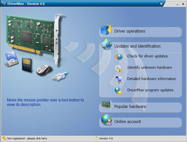 The main menu of the DriverMax software program.