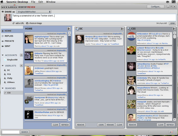 Screenshot of Seesmic Desktop Preview with columns.