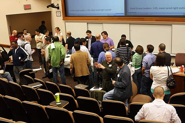 Panelists mingle with the audience after the 2nd session at Bootstrap MD