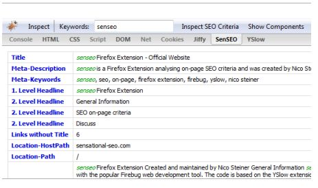 SenSEO Firebug Extension Screenshot
