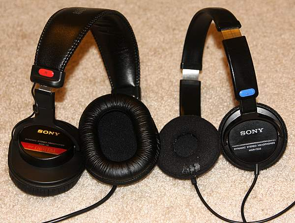 Sony MDR-V6 and Sony MDR7502 headphones side by side.