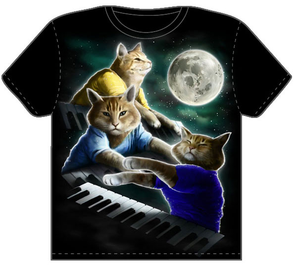 Three Keyboard Cat Moon T-shirt from Threadless.com