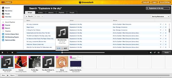 Grooveshark 2.0 Screenshot