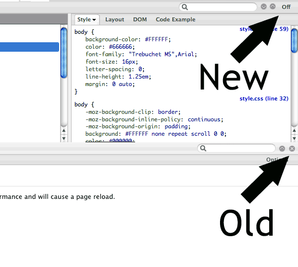 Screenshot of Firebug 1.4 vs the older 1.3 interface.