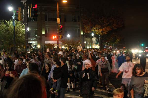 Throngs of zombies taking to the streets of Silver Spring, Maryland.