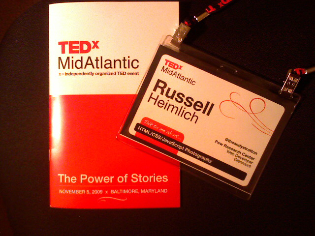 TEDxMidAtlantic Badge And Program