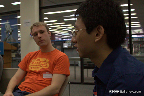 Russell Heimlich and John Chen during the How To Play Tetris talk at BarCamp DC 3.