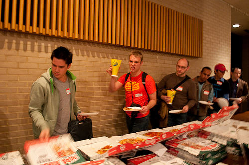 Typical techie BarCamp food: PIZZA!