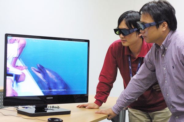 Koreans watching 3D TV