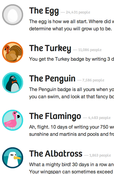 The Turkey, The Penguin, The Flamingo badges